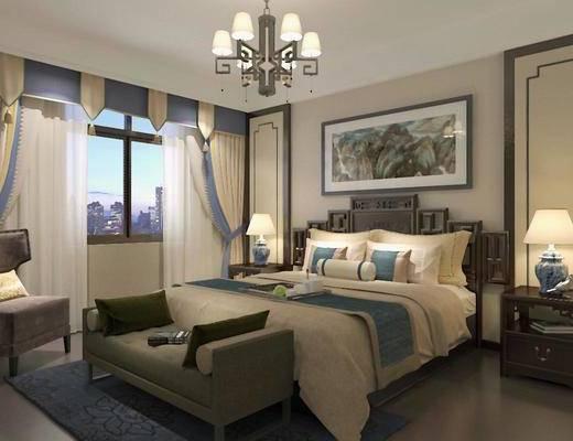 中式, 卧室, 吊灯, 窗帘, 挂画, 床, 床头柜, 台灯, 地毯, 沙发, 下得乐3888套模型合辑