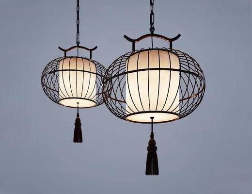 新中式, 吊灯, 鸟笼灯, 灯具
