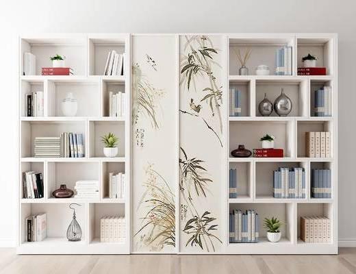 摆件组合, 书柜, 书籍, 新中式
