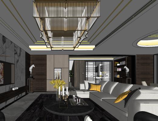 客厅, 现代, 住宅, 沙发组合, 吊灯