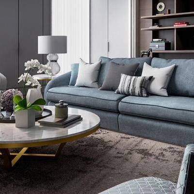 客厅, 沙发茶几组合, 置物架, 陈设品组合, 植物盆栽, 现代, 下得乐3888套模型合辑