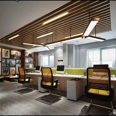 现代办公室, 吊灯, 桌子, 椅子, 壁画, 现代
