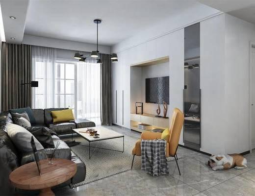 现代客厅, 吊灯, 电视柜, 多人沙发, 茶几, 壁画, 边几, 椅子, 现代