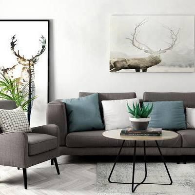 沙发组合, 茶几, 椅子, 壁画, 盆栽, 北欧