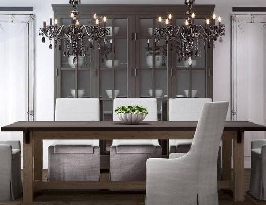 现代餐桌椅组合, 吊灯, 储物柜, 餐桌, 餐椅, 现代