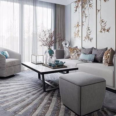 客厅, 壁画, 多人沙发, 茶几, 沙发凳, 椅子, 边柜, 花瓶, 新中式