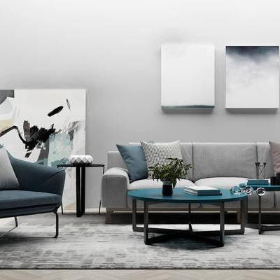 沙发组合, 茶几, 边几, 壁画, 椅子, 北欧