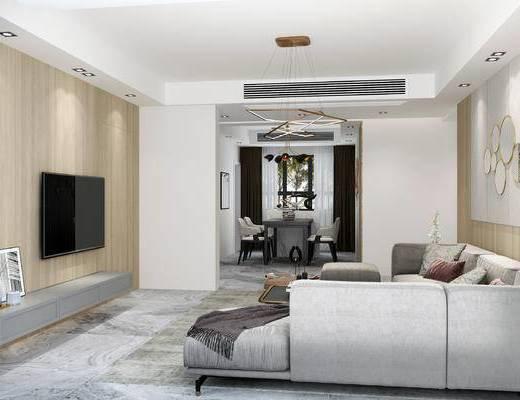 现代客餐厅, 多人沙发, 电视柜, 茶几, 椅子, 置物柜, 吊灯, 桌子, 现代
