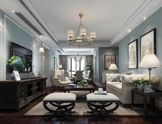 美式客厅, 吊灯, 壁画, 多人沙发, 边几, 台灯, 沙发凳, 边柜, 茶几, 壁灯, 美式