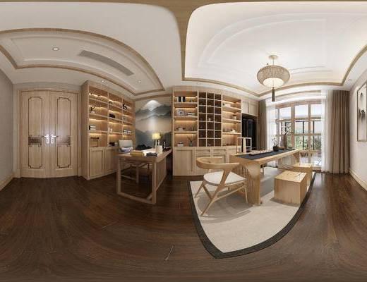 新中式茶室, 置物柜, 桌子, 椅子, 壁画, 吊灯, 凳子, 新中式