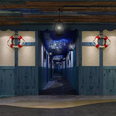 走廊过道, 壁画, 吊灯, 地中海