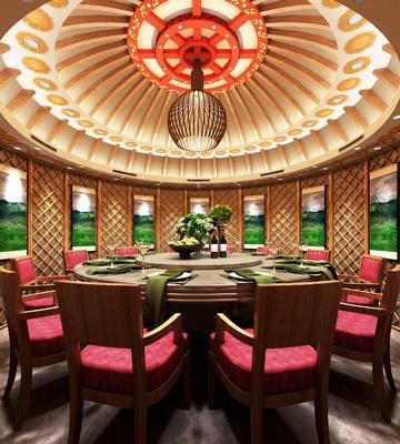 现代包间, 桌子, 椅子, 吊灯, 壁画, 现代