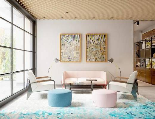 休闲区, 多人沙发, 壁画, 茶几, 椅子, 置物柜, 落地灯, 沙发凳, 现代