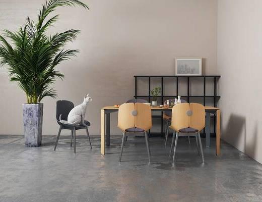 现代餐桌椅组合, 相框, 置物架, 盆栽, 现代