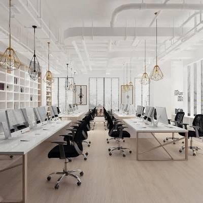 现代, 工业风, 办公室, 办公桌, 办公椅, 吊灯, 置物架, 1000套空间酷赠送模型
