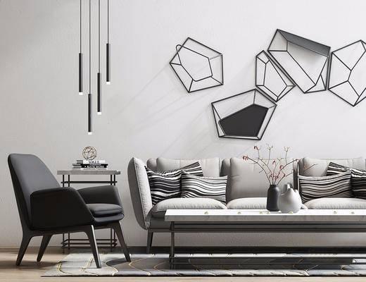 现代简约, 沙发茶几组合, 吊灯, 花瓶, 挂件
