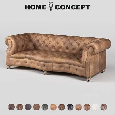 美式复古多人沙发, 美式多人沙发, 复古多人沙发, 多人沙发