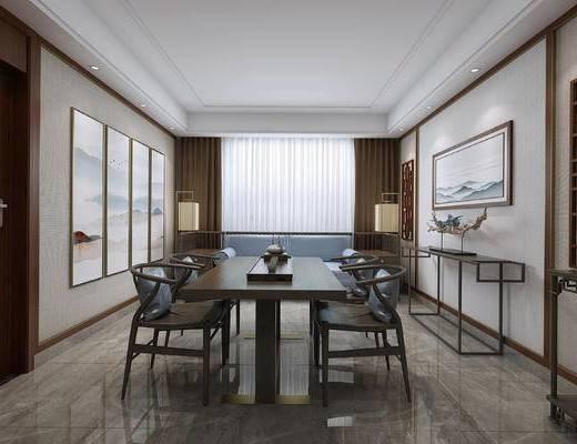 中式餐厅, 桌子, 椅子, 壁画, 双人沙发, 落地灯, 边几, 中式