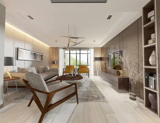 现代客厅, 吊灯, 壁画, 多人沙发, 边几, 台灯, 置物柜, 电视柜, 茶几, 椅子, 现代