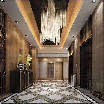 走廊过道, 吊灯, 边柜, 花瓶, 现代
