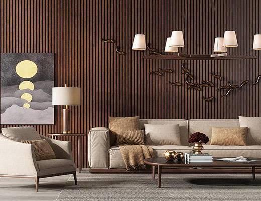 现代简约, 沙发茶几组合, 吊灯, 台灯, 陈设品组合