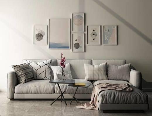 沙发组合, 多人沙发, 壁画, 茶几, 现代