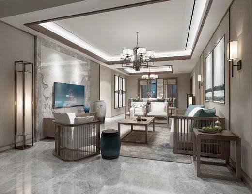 新中式客餐厅, 电视柜, 多人沙发, 茶几, 壁画, 凳子, 壁灯, 吊灯, 边几, 椅子, 新中式