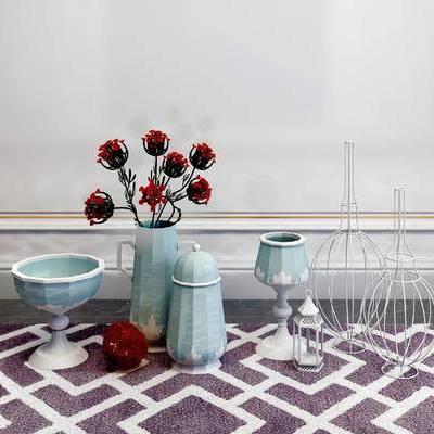 摆件组合, 花瓶, 陶瓷器皿, 简欧