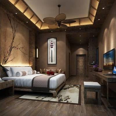 中式客房, 双人床, 壁灯, 边几, 壁画, 桌子, 凳子, 地毯, 中式