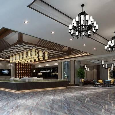 现代售楼部, 吊灯, 沙盘, 现代