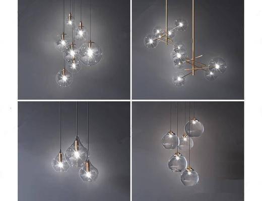 现代, 吊灯, 灯泡