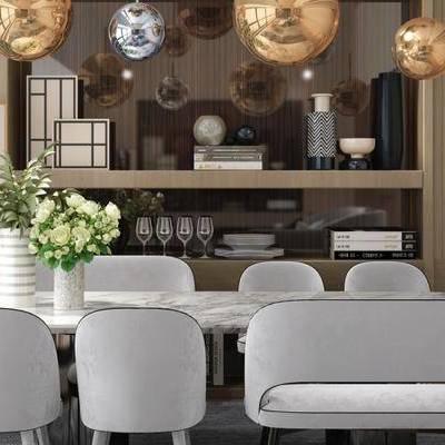 现代餐厅, 桌子, 椅子, 吊灯, 屏风, 花瓶, 现代