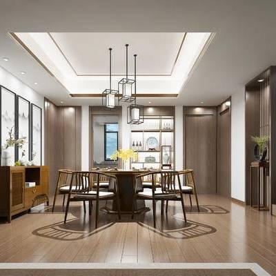 新中式餐厅, 边柜, 桌子, 椅子, 壁画, 吊灯, 置物柜, 边几, 盆栽, 新中式