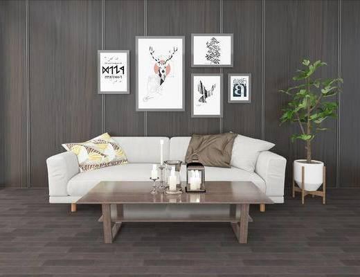 沙发组合, 茶几, 双人沙发, 盆栽, 现代
