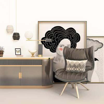 现代边柜, 边柜, 单椅, 边柜组合