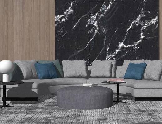 沙发组合, 多人沙发, 茶几, 现代, 现代沙发