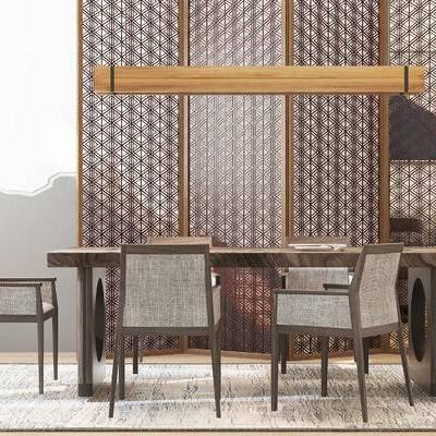 桌椅组合, 桌子, 椅子, 吊灯, 屏风, 壁画, 新中式