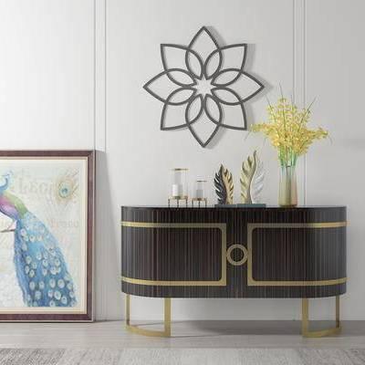 边柜, 壁画, 花瓶, 美式