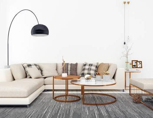 沙发组合, 落地灯, 多人沙发, 茶几, 边几, 现代