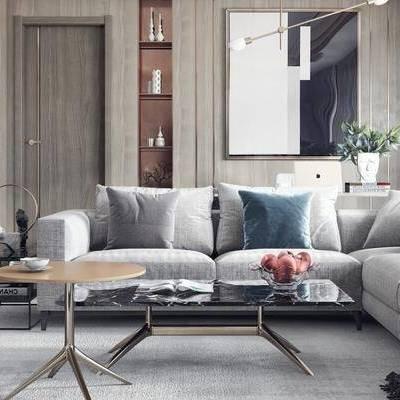 现代客厅, 多人沙发, 茶几, 壁画, 吊灯, 椅子, 边几, 置物柜, 现代