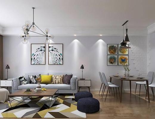 现代客餐厅, 吊灯, 壁画, 多人沙发, 边几, 茶几, 电视柜, 落地灯, 边柜, 现代