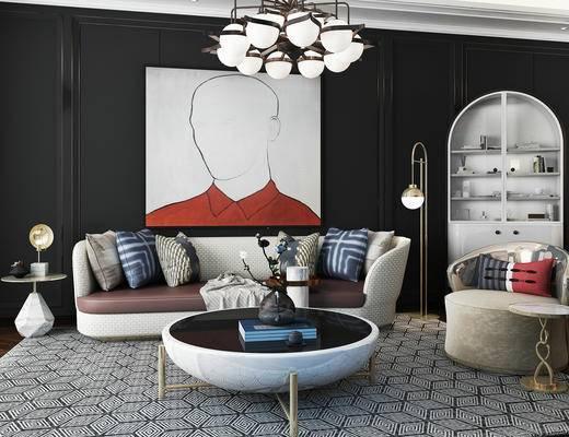 后现代, 沙发, 茶几, 吊灯, 挂画, 置物柜, 摆件, 边几