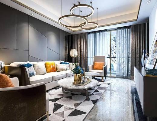 现代简约, 客厅, 沙发茶几组合, 吊灯, 陈设品组合