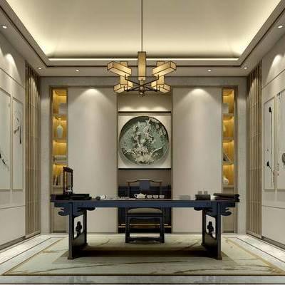 新中式书房, 吊灯, 壁画, 桌子, 椅子, 置物柜, 新中式
