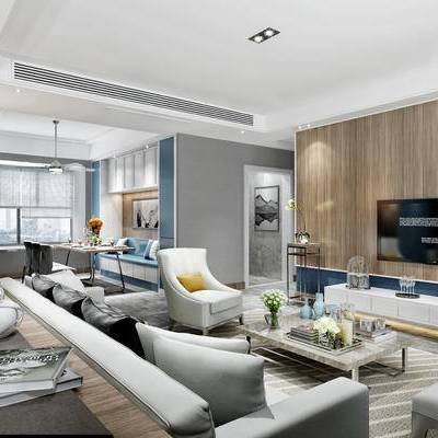 现代客厅, 多人沙发, 电视柜, 椅子, 茶几, 桌子, 落地灯, 边几, 地毯, 现代