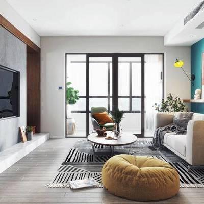 北欧客厅, 壁画, 多人沙发, 茶几, 沙发凳, 边几, 椅子, 地毯, 北欧