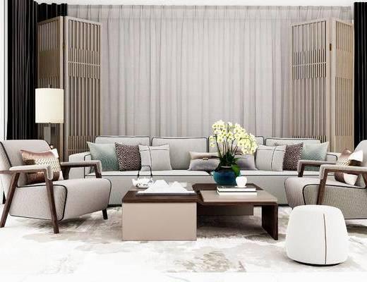 沙发组合, 多人沙发, 茶几, 椅子, 台灯, 沙发凳, 现代