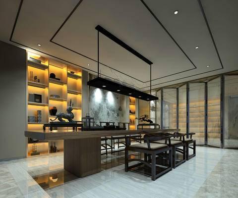 茶室, 吊灯, 桌子, 椅子, 置物柜, 屏风, 中式