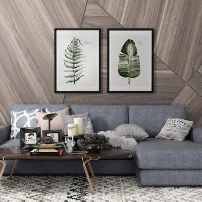 沙发组合, 多人沙发, 壁画, 茶几, 地毯, 现代