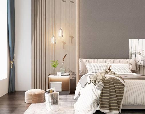 双人床, 床头柜, 吊灯, 沙发凳, 现代